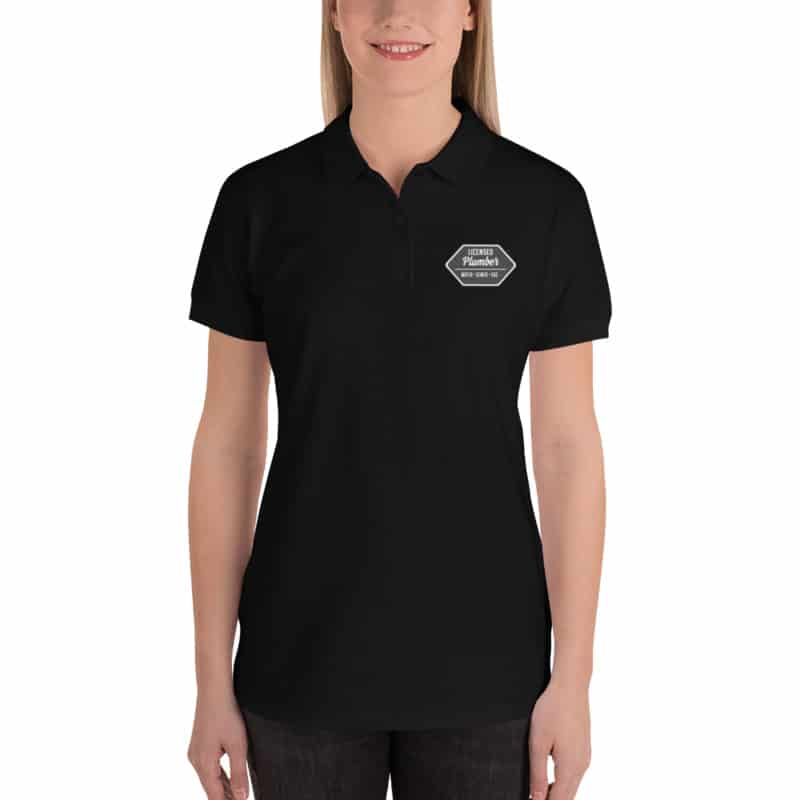 Black Licensed Plumber Embroidered Women's Polo 1