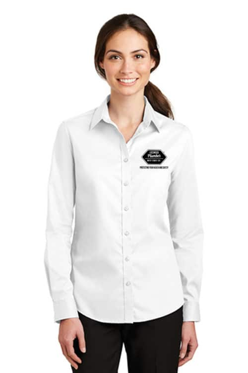 Women's Licensed Plumber Long Sleeve Twill Polo